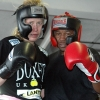 Marianne and Ian Napa following final spar ahead of Marianne's March 2014 title fight