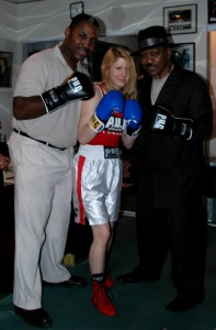 Marvis Frazier, Marianne Marston and Smokin' Joe Frazier at Joe's North Philadelphia Gym in 2007 - Photo Gianluca (Rio) Di Caro